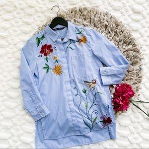 Zara Stripe Embroidered Poplin Bird Shirt